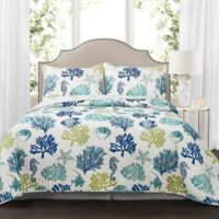 Lush Décor Coastal Reef Reversible King Quilt Set in Navy