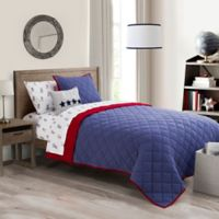 Henry 2-Piece Twin Quilt Set in Navy/Red