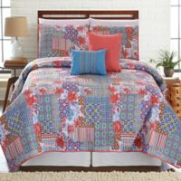 Bellanova Printed Reversible King Quilt Set in Coral