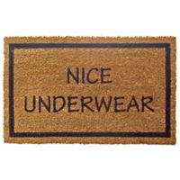 "Entryways Nice Underwear 17"" x 28"" Coir Door Mat in Black"