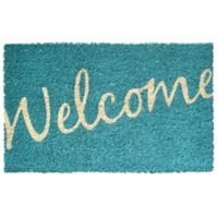 "Entryways Welcome 17"" x 28"" Coir Door Mat in Blue"