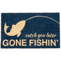 "Entryways Gone Fishin 17"" x 28"" Coir Door Mat in Blue"