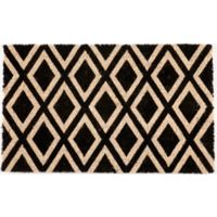 "Entryways Rhombi 17"" x 28"" Coir Door Mat in Black"