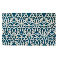 "Entryways Bristol Scroll 22"" x 35"" Coir Door Mat in Blue"