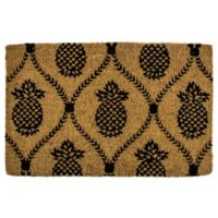 "Entryways Pineapple Trellis 22"" x 35"" Coir Door Mat in Black"