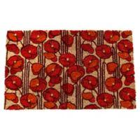 """Entryways Poppies 17"""" x 28"""" Coir Multicolor Door Mat"""