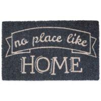 "Entryways No Place Like Home 17"" x 28"" Coir Door Mat in Grey"