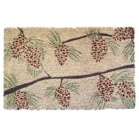 "Entryways Pinecones 17"" x 28"" Coir Door Mat in Brown/Green"
