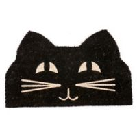 "Entryways Cat Face 17"" x 28"" Coir Door Mat in Black/White"