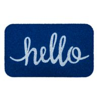 "Entryways Simply Hello 18"" x 30"" Coil Door Mat in Blue/White"