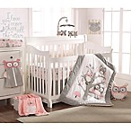 Levtex Baby Night Owl 5-Piece Crib Bedding Set in Pink/Grey