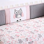 Levtex Baby Night Owl 4-Piece Crib Bumper Set in Pink/Grey