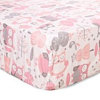 Levtex Baby Night Owl Fitted Crib Sheet in Pink/Grey