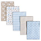 Gerber® 5-Pack Striped Flannel Receiving Blankets in Mocha/Blue