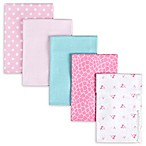 Gerber® 5-Pack Giraffe Flannel Receiving Blankets in Pink/Aqua