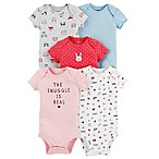"carter's® Size 3M 5-Pack ""Snuggle"" Short-Sleeve Bodysuits"