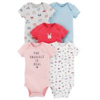 "carter's® Newborn 5-Pack ""Snuggle"" Short-Sleeve Bodysuits"