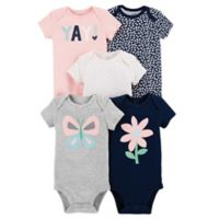 carter's® Size 12M 5-Pack Butterfly Short-Sleeve Bodysuits