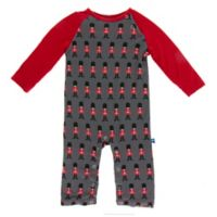 KicKee Pants® Newborn Queens Guard Raglan Coverall in Grey/Red