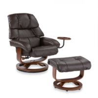 Southern Enterprises Leather Recliner/Ottoman w/Accessory Table in Brown