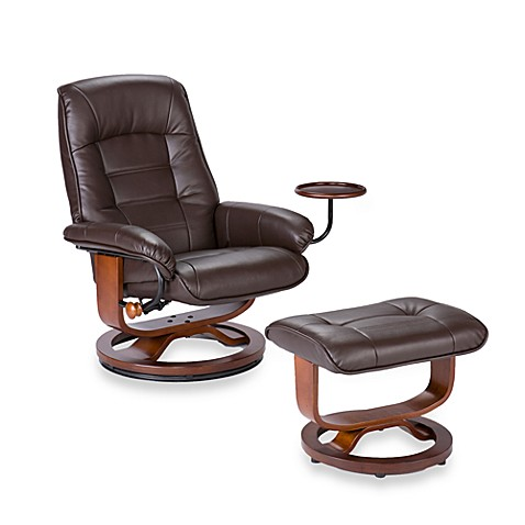 Southern Enterprises Ergonomic Leather Recliner And Ottoman With Accessory  Table   Bed Bath U0026 Beyond