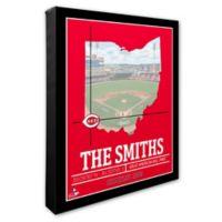 MLB Cincinnati Reds Team Coordinates Canvas Framed Print Wall Art