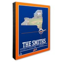 MLB New York Mets Team Coordinates Canvas Framed Print Wall Art