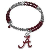 University of Alabama Metal Logo Pendant Football Bead Bracelet