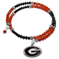 University of Georgia Metal Logo Pendant Football Bead Bracelet