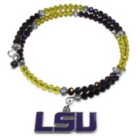 Louisiana State University Metal Logo Pendant Football Bead Bracelet