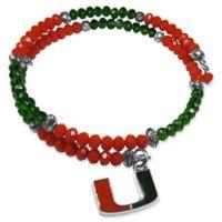 University of Miami Metal Logo Pendant Football Bead Bracelet