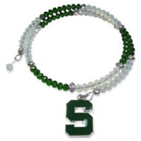 Michigan State University Metal Logo Pendant Football Bead Bracelet