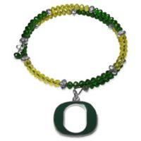 University of Oregon Metal Logo Pendant Football Bead Bracelet