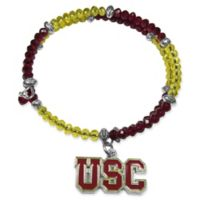 USC Metal Logo Pendant Football Bead Bracelet