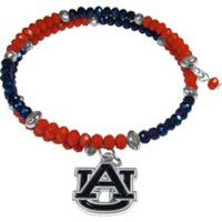 Auburn University Metal Logo Pendant Football Bead Bracelet