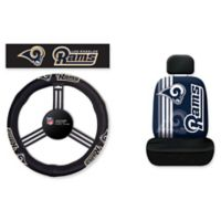 NFL Los Angeles Rams Rally Seat Cover and Leather Steering Wheel Cover Set