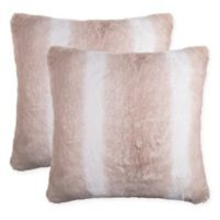 Stripe Faux Fur Square Throw Pillows in Brown (Set of 2)