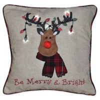 Reindeer With Lights Square Decorative Pillow