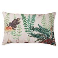 Fern & Frog Lumbar Oblong Indoor/Outdoor Pillow in Blue