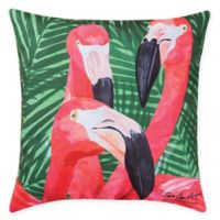 Flamingos Square Indoor/Outdoor Pillow in Green