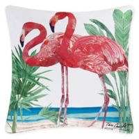 Flamingos Square Indoor/Outdoor Pillow in Pink