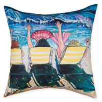 Mermaid Beach Party Square Indoor/Outdoor Pillow in Blue