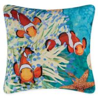 Coral Reef Square Indoor/Outdoor Pillow in Blue