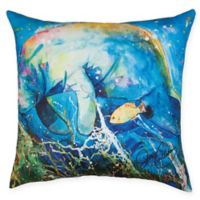 Manatee Barrier Reef Square Indoor/Outdoor Pillow in Blue