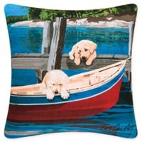 Puppies & Canoe Square Indoor/Outdoor Pillow in Blue
