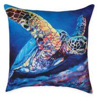 Sea Turtle Ascending Square Indoor/Ooutdoor Pillow in Blue