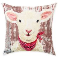 Farmhouse Lamb Square Indoor/Outdoor Pillow in Red
