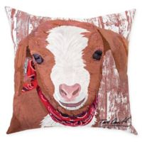 Farmhouse Goat Square Indoor/Outdoor Pillow in Red