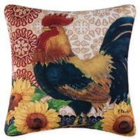 C&F Home Rooster with Sunflowers Square Indoor/Outdoor Pillow in Tan