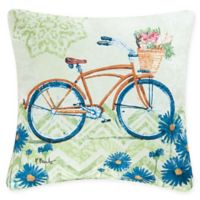 Bicycle Square Indoor/Outdoor Throw Pillow in Blue